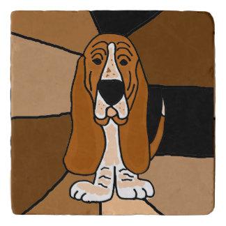 Funny Basset Hound Dog Art Abstract Stone Trivet