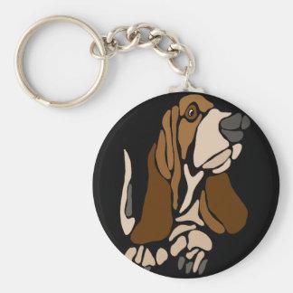 Funny Basset Hound Dog Art Key Ring