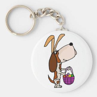 Funny Basset Hound Dog Easter Bunny Key Ring