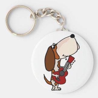 Funny Basset Hound dog Playing Guitar Key Ring