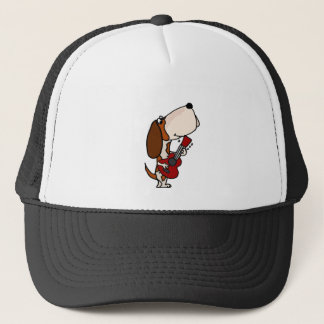 Funny Basset Hound dog Playing Guitar Trucker Hat