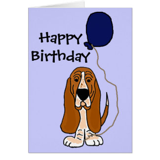 Funny Basset Hound Holding Blue balloon Card