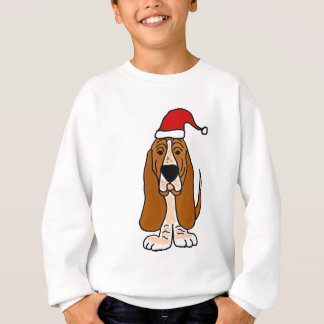 Funny Basset Hound in Santa Hat Christmas Art Sweatshirt