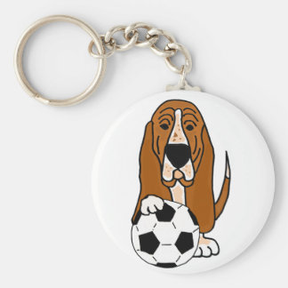 Funny Basset Hound Playing Soccer or Football Key Ring