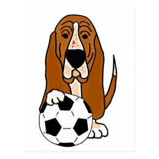 Funny Basset Hound Playing Soccer or Football Postcard
