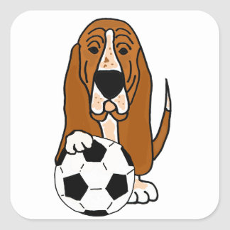 Funny Basset Hound Playing Soccer or Football Square Sticker