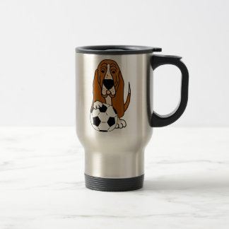 Funny Basset Hound Playing Soccer or Football Travel Mug