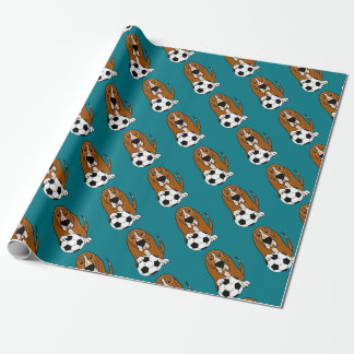 Funny Basset Hound Playing Soccer or Football Wrapping Paper