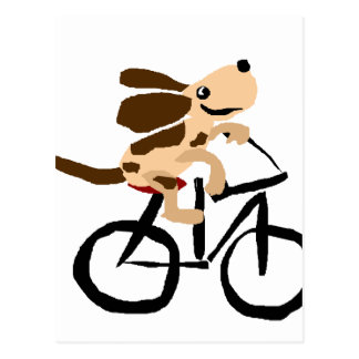 Funny Basset Hound Riding Bicycle Postcard
