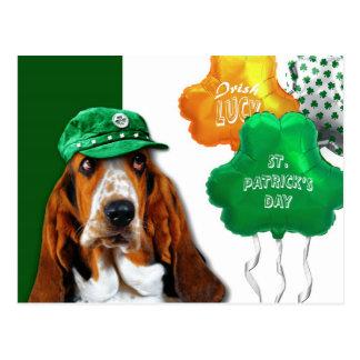 Funny Basset Hound. St. Patrick's Day Postcard