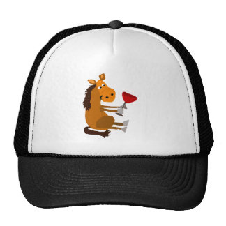 Funny Bay Horse Drinking Red Wine Cap