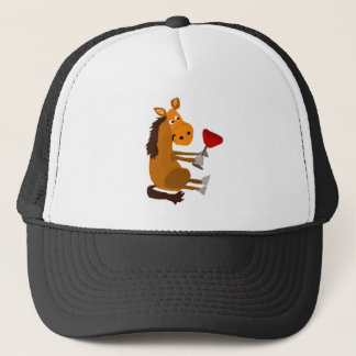 Funny Bay Horse Drinking Red Wine Trucker Hat