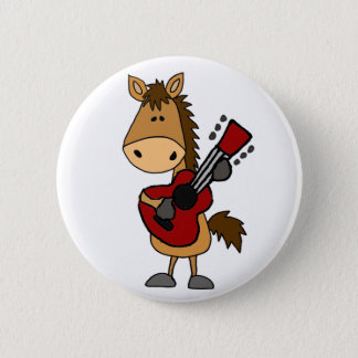 Funny Bay Horse Playing Guitar Art 6 Cm Round Badge