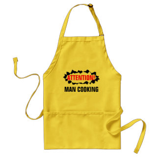 Funny BBQ apron for men | Attention man cooking!