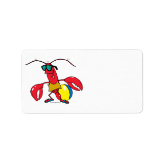 funny beach going  lobster cartoon label
