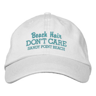 Funny Beach Hair Don't Care Custom Beach Name Embroidered Hat
