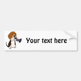 Funny Beagle Dog Playing Trumpet Bumper Sticker