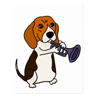 Funny Beagle Dog Playing Trumpet Postcard