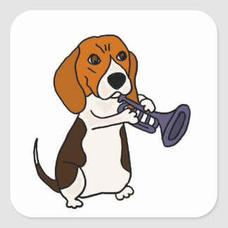 Funny Beagle Dog Playing Trumpet Square Sticker