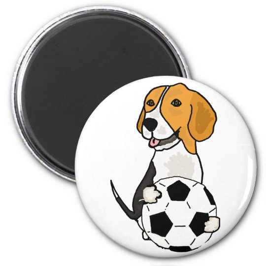 Funny Beagle Playing Soccer 6 Cm Round Magnet