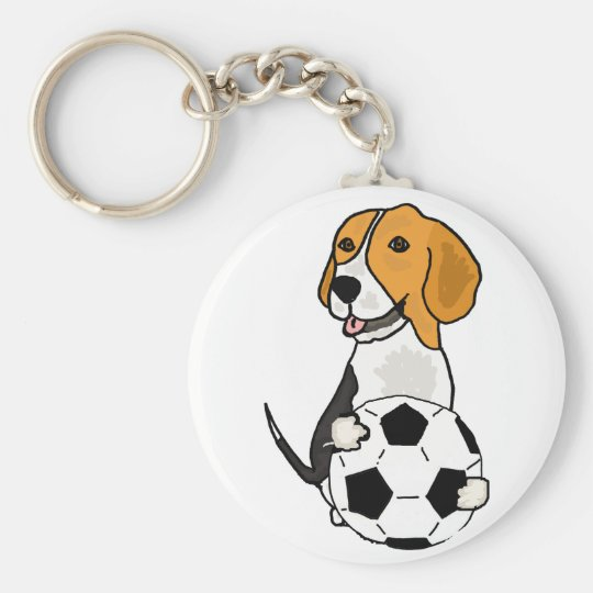 Funny Beagle Playing Soccer Basic Round Button Key Ring