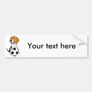 Funny Beagle Playing Soccer Bumper Sticker