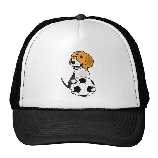 Funny Beagle Playing Soccer Cap