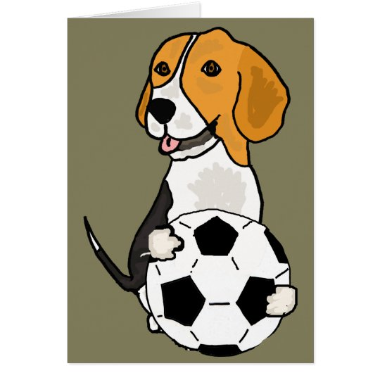 Funny Beagle Playing Soccer Card