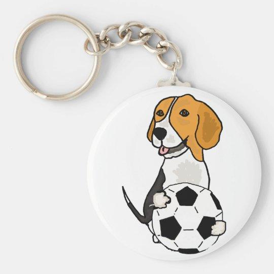 Funny Beagle Playing Soccer Key Ring