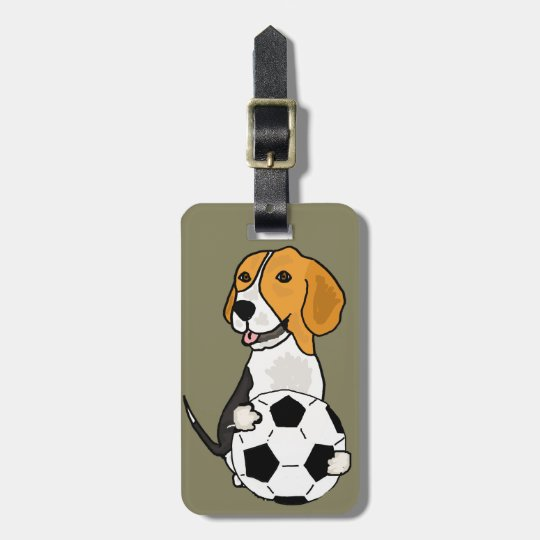 Funny Beagle Playing Soccer Luggage Tag