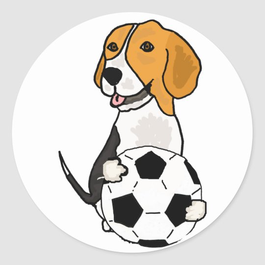 Funny Beagle Playing Soccer Round Sticker
