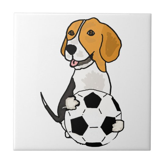 Funny Beagle Playing Soccer Small Square Tile