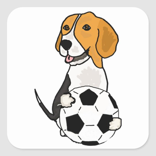 Funny Beagle Playing Soccer Square Sticker