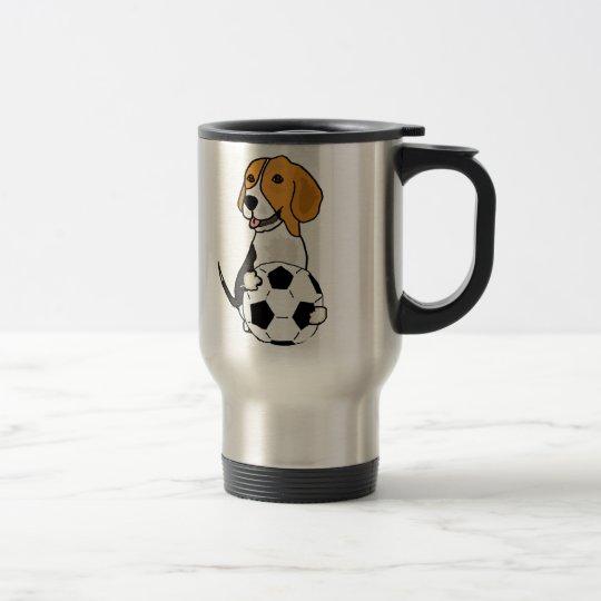 Funny Beagle Playing Soccer Travel Mug