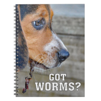 Funny Beagle Puppy Got Worms? Notebook