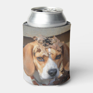 Funny Beagle With Leaves Acorns on Head Can Cooler