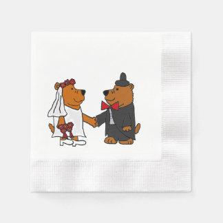 Funny Bear Bride and Groom Wedding Art Disposable Serviette
