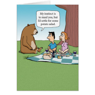 Funny Bear Crashing a Picnic Card