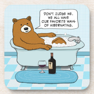 Funny Bear Drinking Wine, Relaxing in Tub Drink Coasters