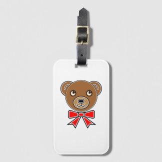 Funny bear face luggage tag