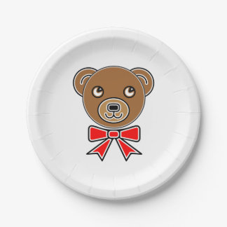 Funny bear face paper plate