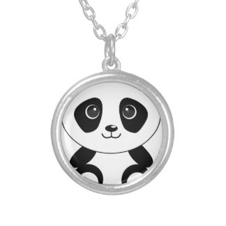 Funny bear panda bear panda animals silver plated necklace