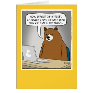 Funny Bear Surfing the Internet Card