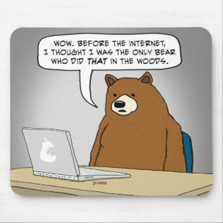 Funny Bear Surfing the Internet Mouse Pad