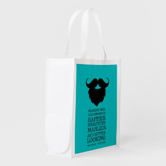 Funny Bearded Men Quote Reusable Grocery Bag