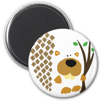 Funny Beaver Abstract Art 6 Cm Round Magnet