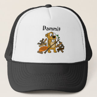 Funny Beaver and Dam Cartoon Trucker Hat