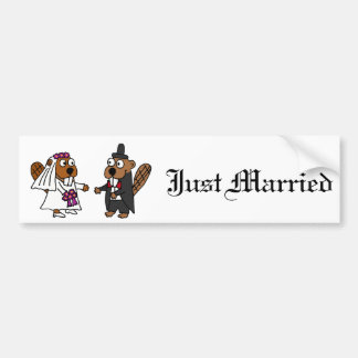Funny Beaver Bride and Groom Wedding Car Bumper Sticker