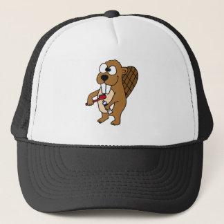 Funny Beaver Brushing Teeth Cartoon Trucker Hat