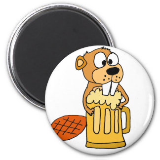 Funny Beaver Drinking Beer 6 Cm Round Magnet
